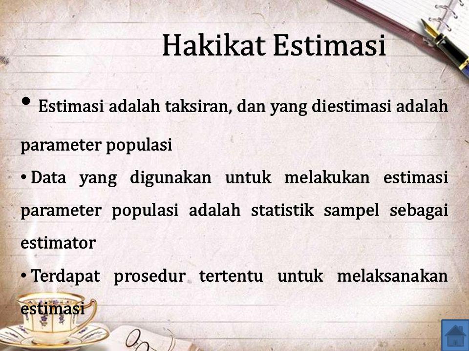 Hakikat Estimasi Estimasi adalah taksiran, dan yang diestimasi adalah parameter populasi.