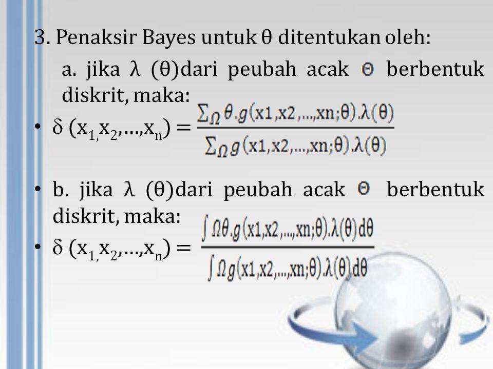 3. Penaksir Bayes untuk θ ditentukan oleh: