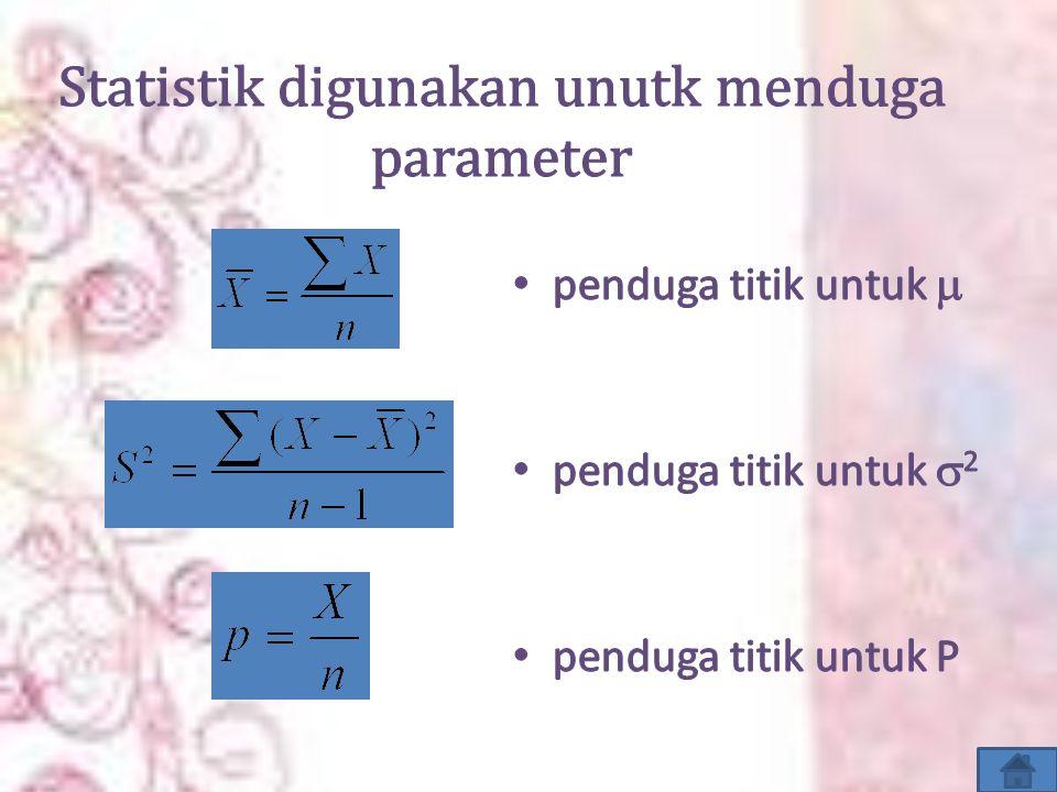 Statistik digunakan unutk menduga parameter
