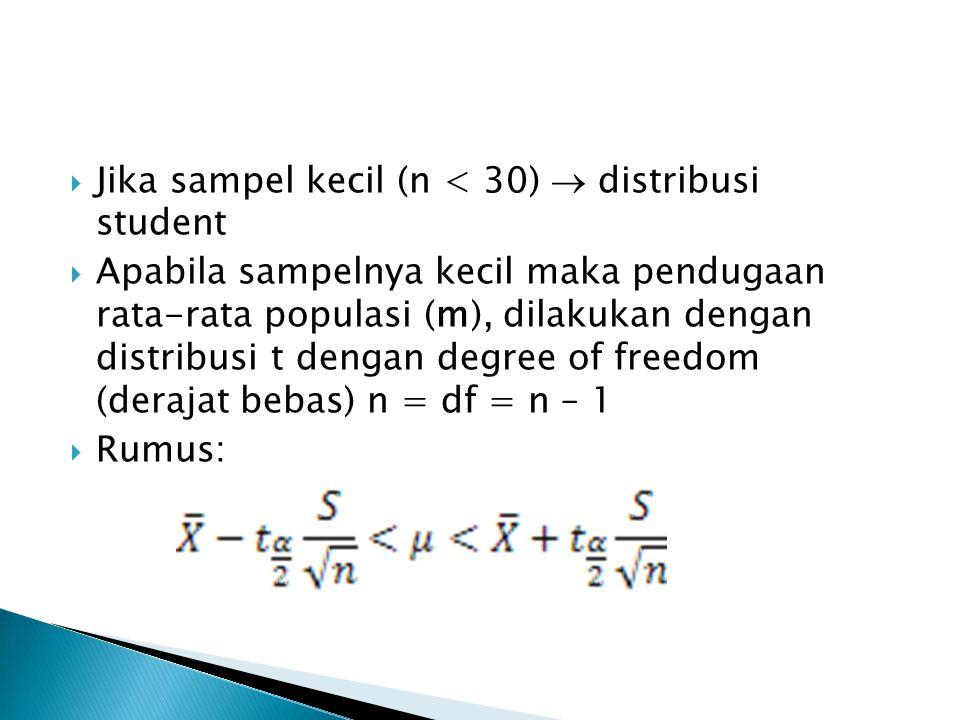 Jika sampel kecil (n < 30)  distribusi student