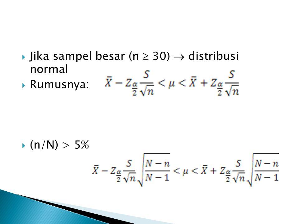 Jika sampel besar (n  30)  distribusi normal
