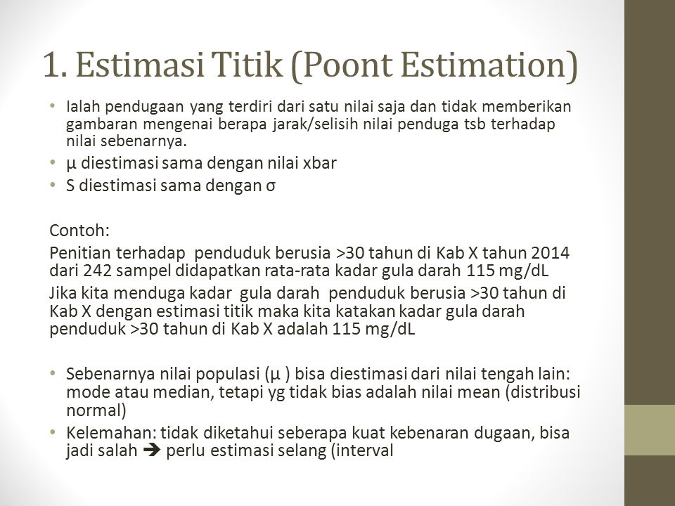 1. Estimasi Titik (Poont Estimation)
