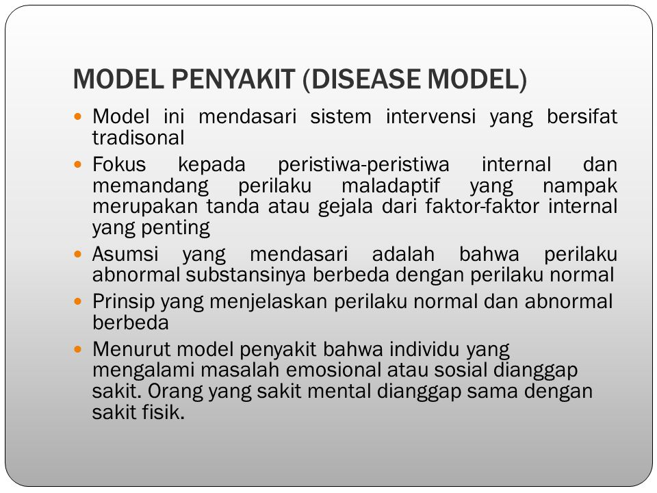 MODEL PENYAKIT (DISEASE MODEL)