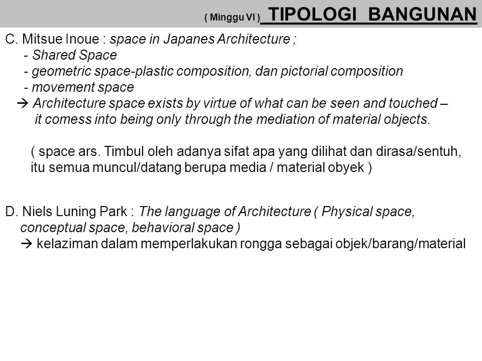 C. Mitsue Inoue : space in Japanes Architecture ;