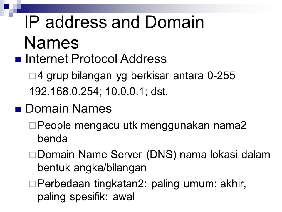 IP address and Domain Names