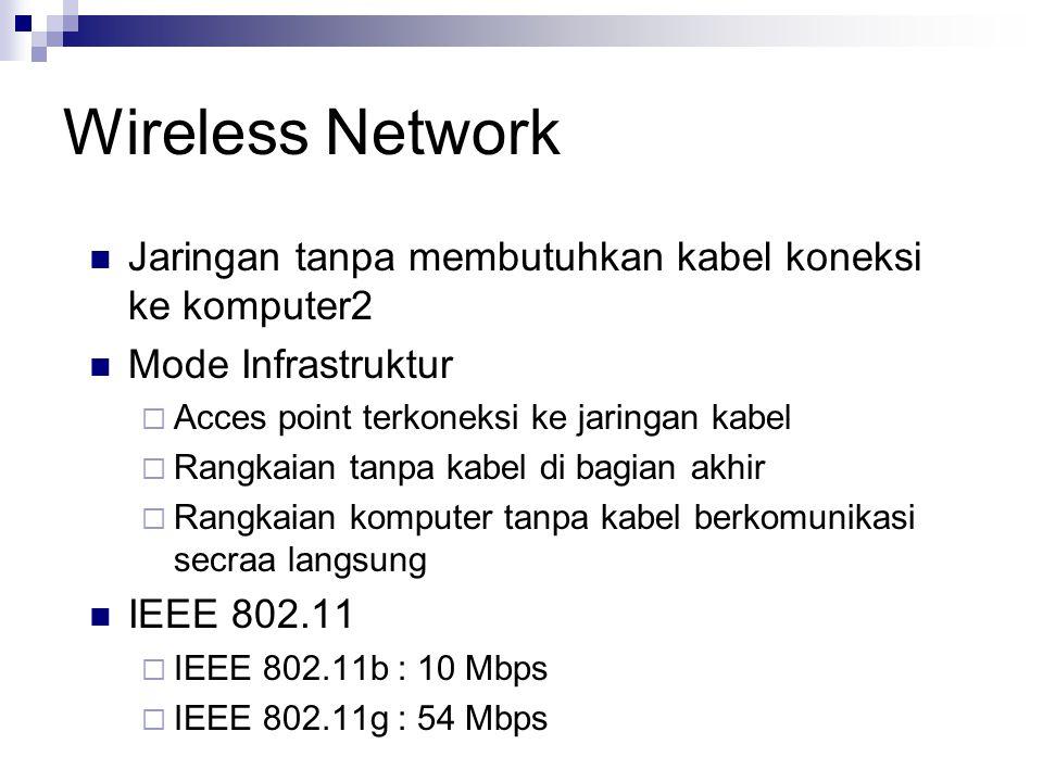 Wireless Network Jaringan tanpa membutuhkan kabel koneksi ke komputer2