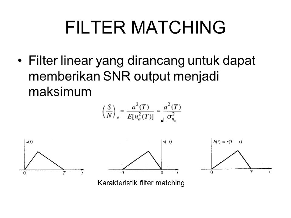 FILTER MATCHING Filter linear yang dirancang untuk dapat memberikan SNR output menjadi maksimum.