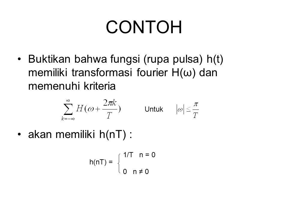 CONTOH Buktikan bahwa fungsi (rupa pulsa) h(t) memiliki transformasi fourier H(ω) dan memenuhi kriteria.
