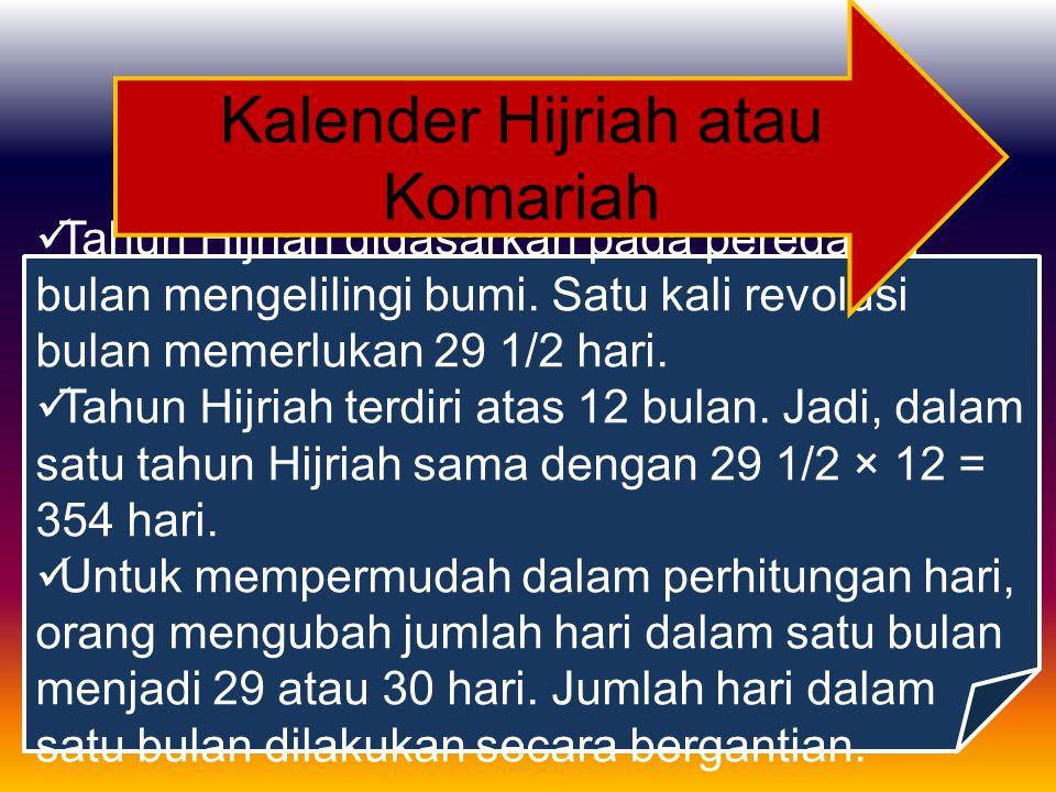 Kalender Hijriah atau Komariah