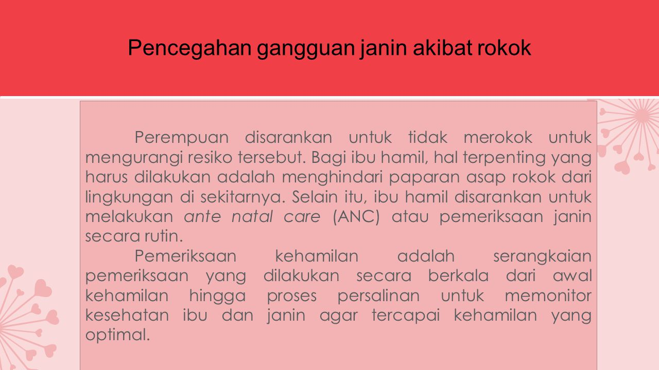 Pencegahan gangguan janin akibat rokok