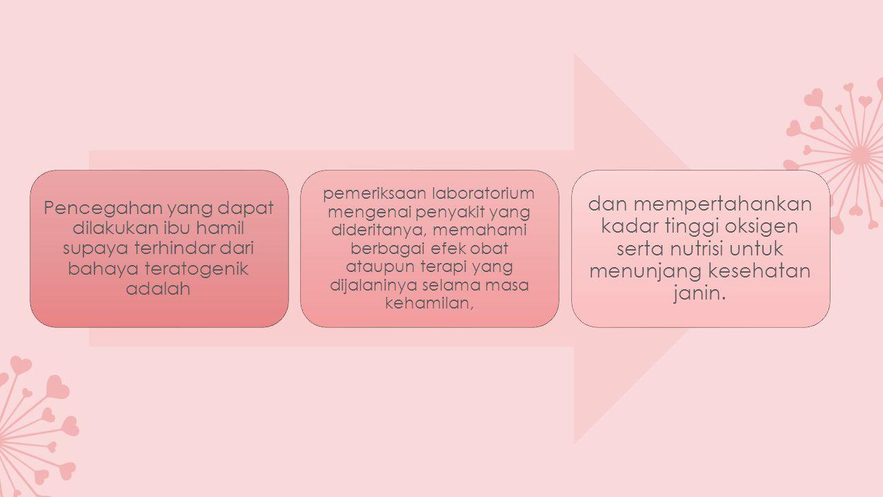 Pencegahan yang dapat dilakukan ibu hamil supaya terhindar dari bahaya teratogenik adalah