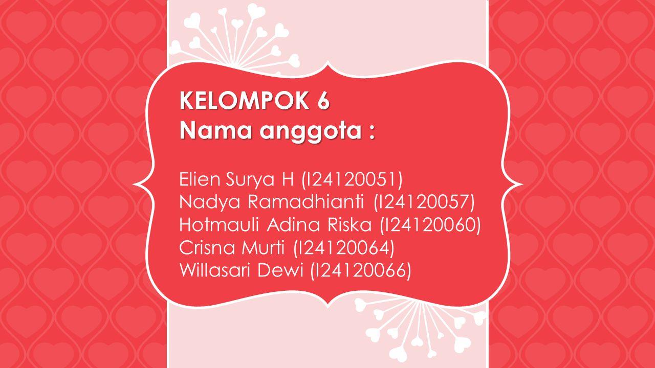 KELOMPOK 6 Nama anggota : Elien Surya H (I24120051)