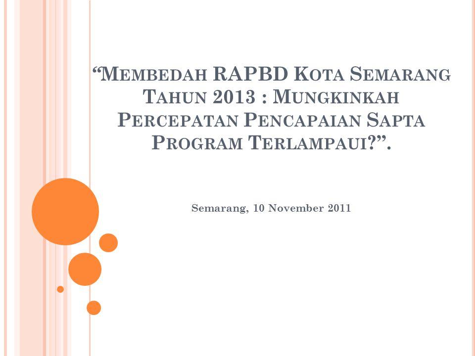 Membedah RAPBD Kota Semarang Tahun 2013 : Mungkinkah Percepatan Pencapaian Sapta Program Terlampaui .
