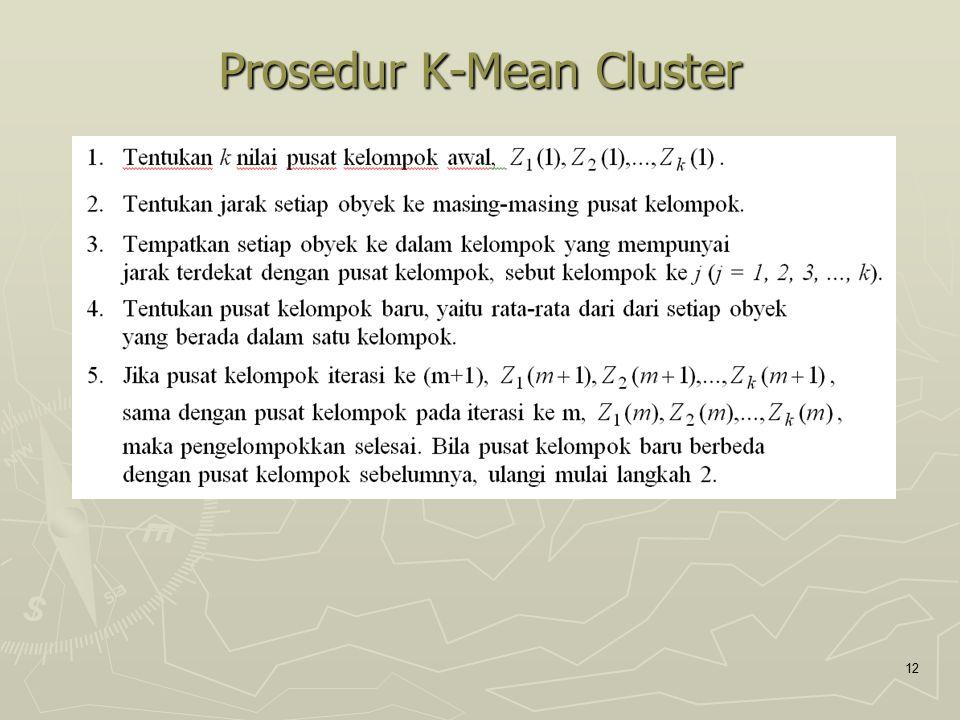 Prosedur K-Mean Cluster