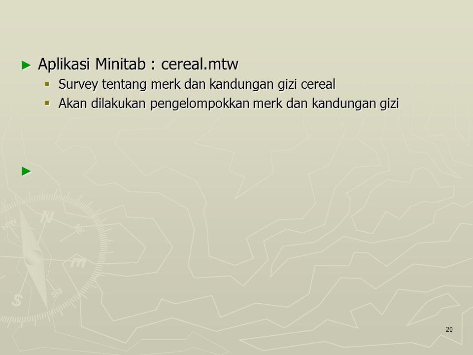 Aplikasi Minitab : cereal.mtw