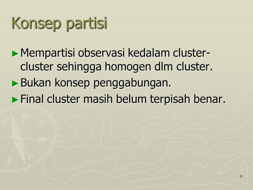Konsep partisi Mempartisi observasi kedalam cluster-cluster sehingga homogen dlm cluster. Bukan konsep penggabungan.