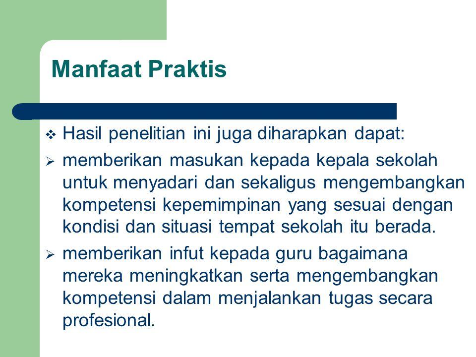 Manfaat Praktis Hasil penelitian ini juga diharapkan dapat: