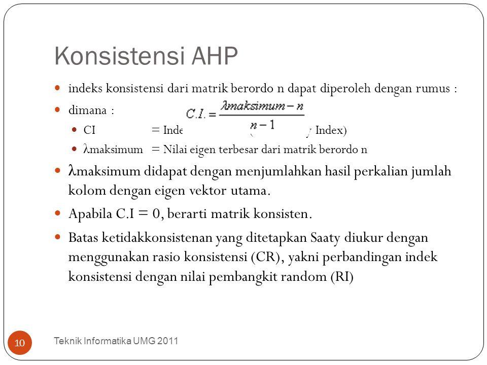 Konsistensi AHP indeks konsistensi dari matrik berordo n dapat diperoleh dengan rumus : dimana : CI = Indek konsistensi (Consistency Index)