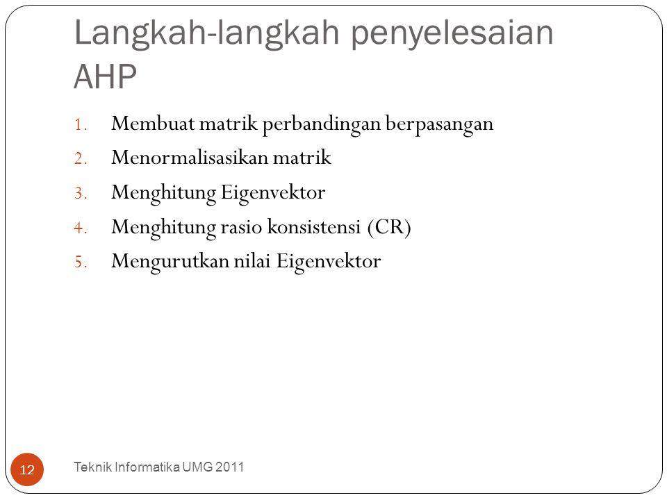 Langkah-langkah penyelesaian AHP