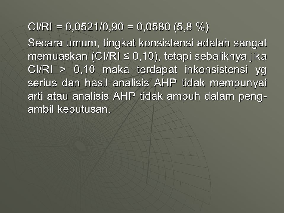 CI/RI = 0,0521/0,90 = 0,0580 (5,8 %)