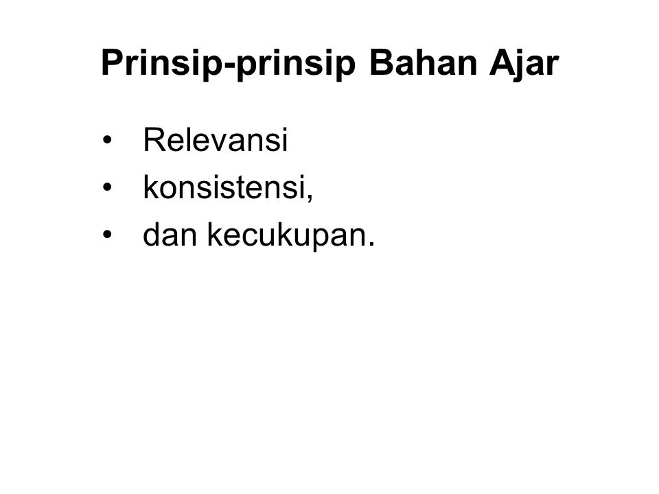 Prinsip-prinsip Bahan Ajar