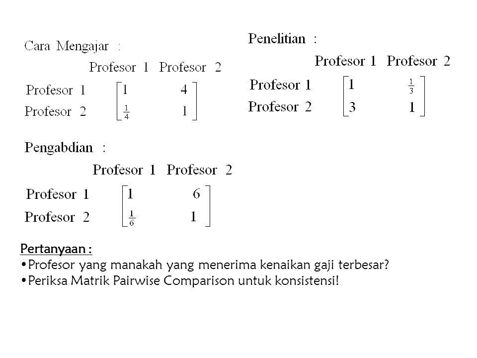 Pertanyaan : Profesor yang manakah yang menerima kenaikan gaji terbesar.