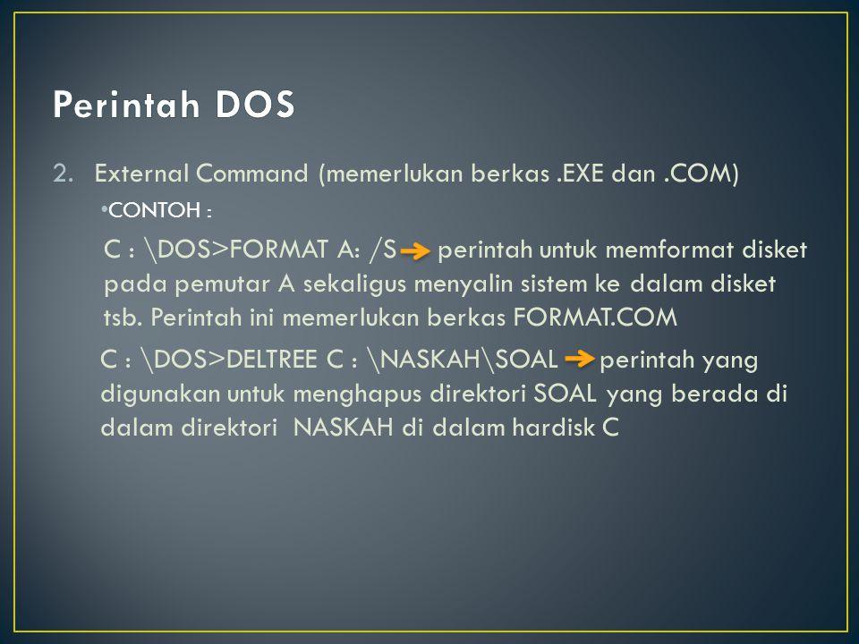 Perintah DOS External Command (memerlukan berkas .EXE dan .COM)