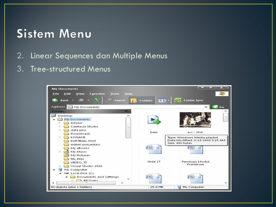 Sistem Menu Linear Sequences dan Multiple Menus Tree-structured Menus