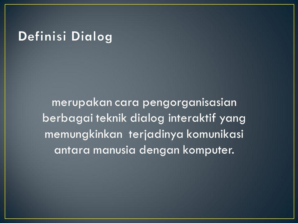 Definisi Dialog merupakan cara pengorganisasian