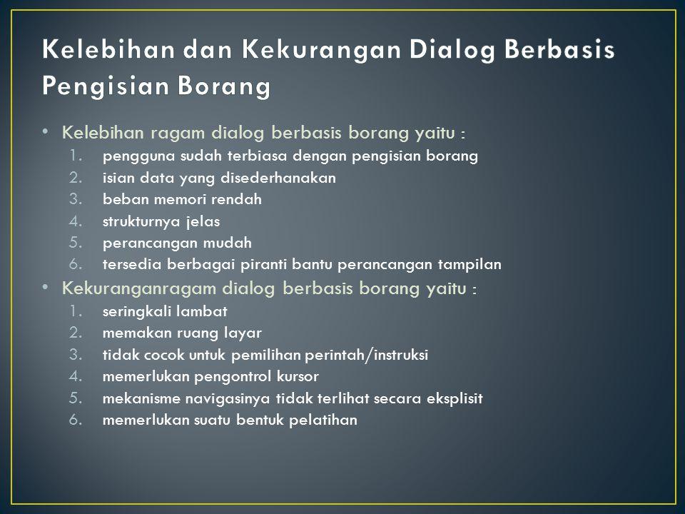 Kelebihan dan Kekurangan Dialog Berbasis Pengisian Borang