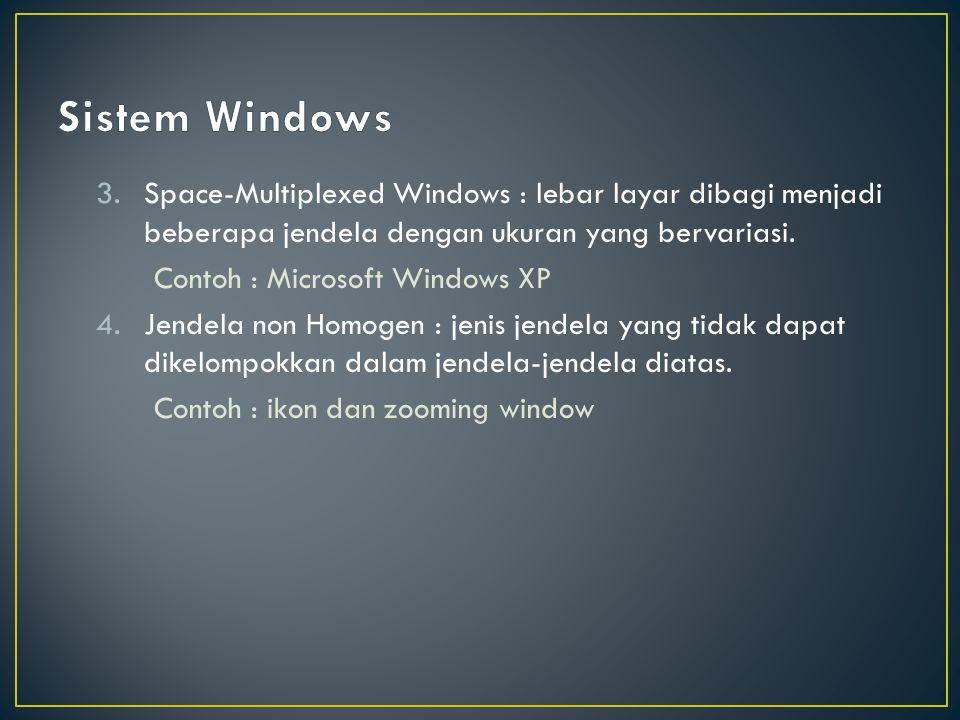Sistem Windows Space-Multiplexed Windows : lebar layar dibagi menjadi beberapa jendela dengan ukuran yang bervariasi.