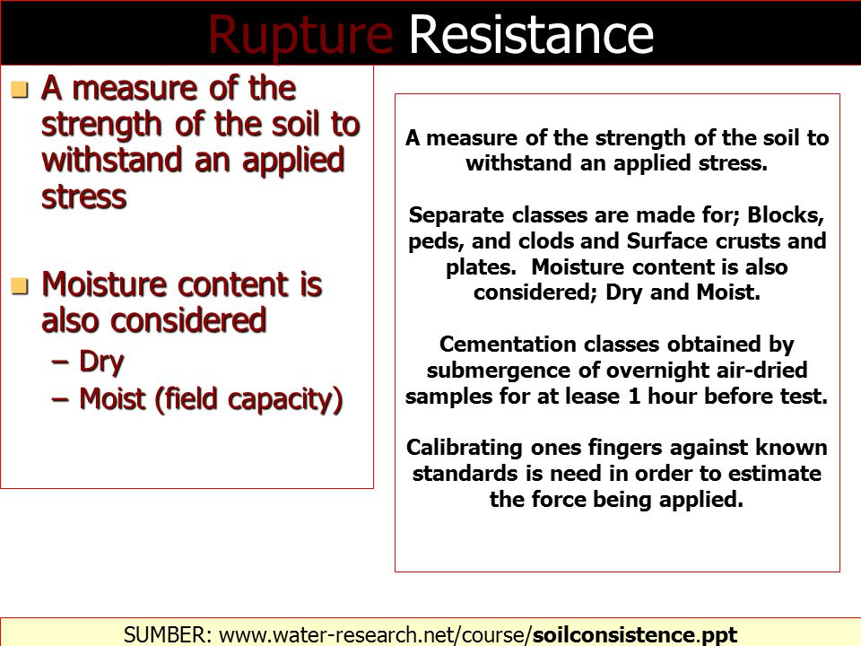 A measure of the strength of the soil to withstand an applied stress.