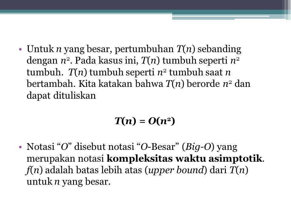 Untuk n yang besar, pertumbuhan T(n) sebanding dengan n2