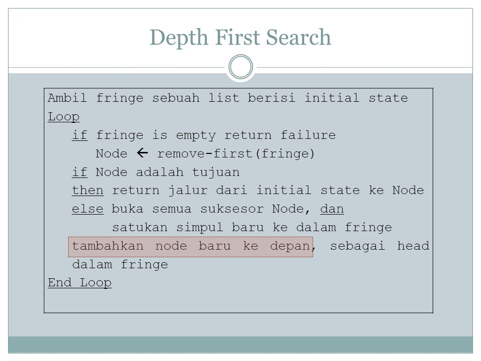 Depth First Search Ambil fringe sebuah list berisi initial state Loop