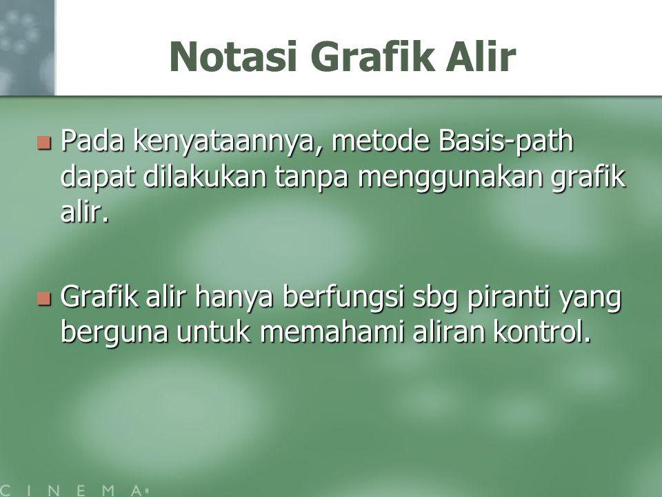 Notasi Grafik Alir Pada kenyataannya, metode Basis-path dapat dilakukan tanpa menggunakan grafik alir.