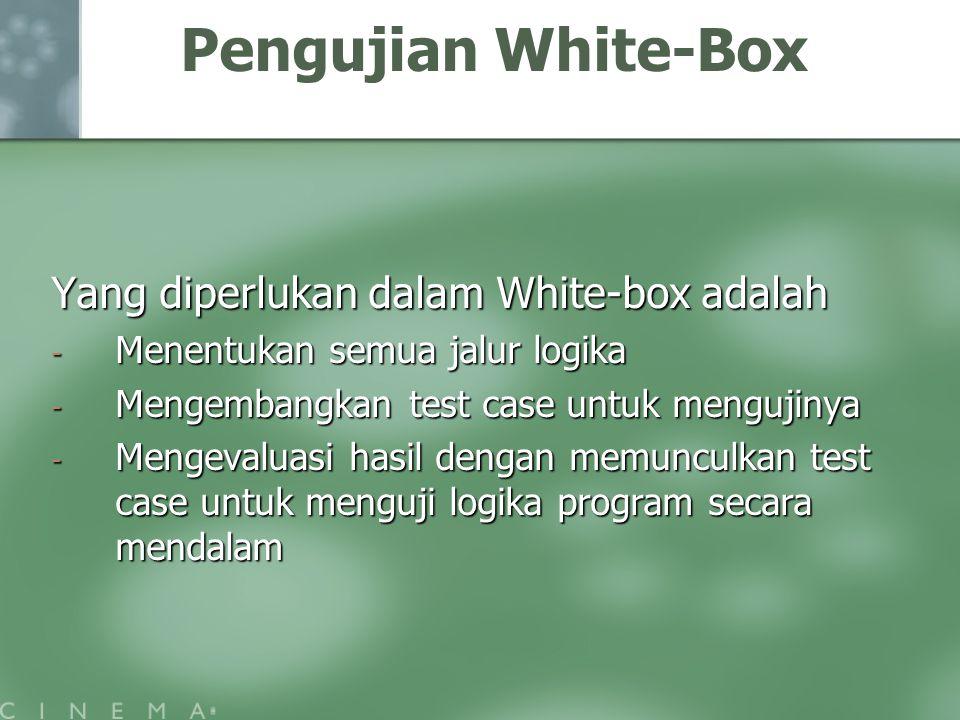 Pengujian White-Box Yang diperlukan dalam White-box adalah