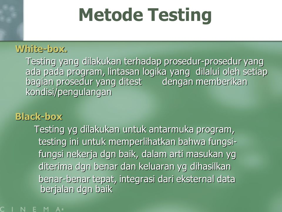 Metode Testing White-box.