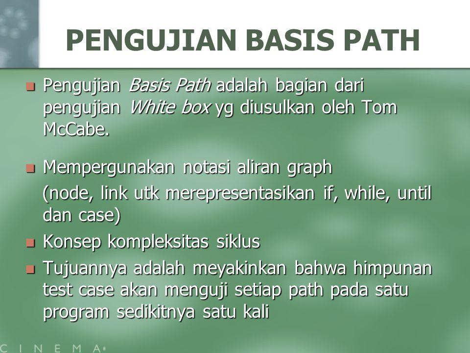 PENGUJIAN BASIS PATH Pengujian Basis Path adalah bagian dari pengujian White box yg diusulkan oleh Tom McCabe.