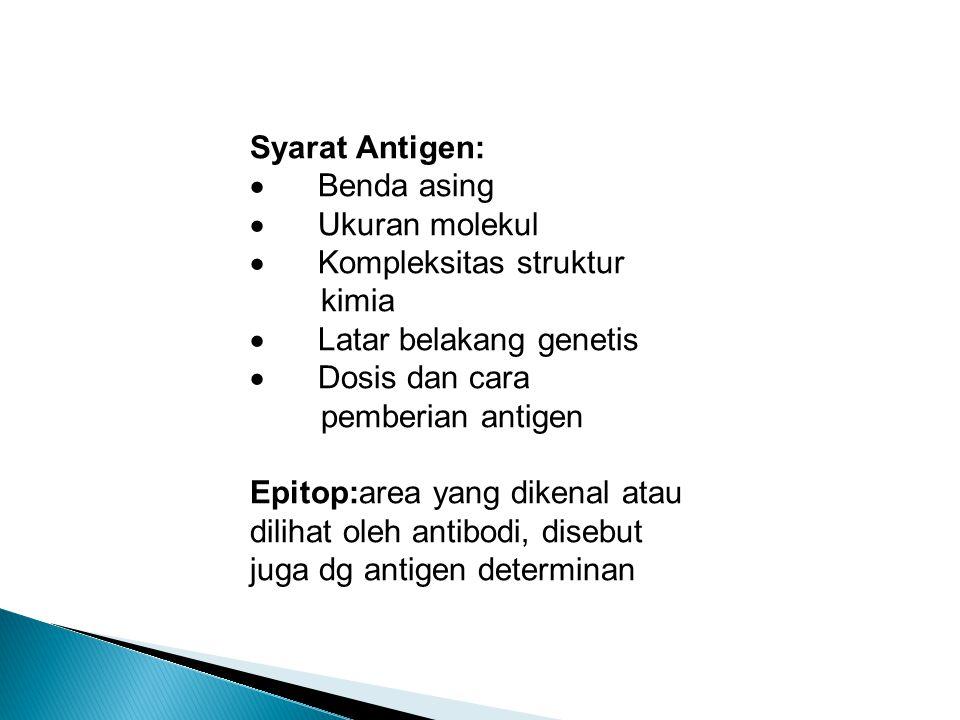 Syarat Antigen: · Benda asing · Ukuran molekul · Kompleksitas struktur kimia · Latar belakang genetis · Dosis dan cara pemberian antigen Epitop:area yang dikenal atau dilihat oleh antibodi, disebut juga dg antigen determinan