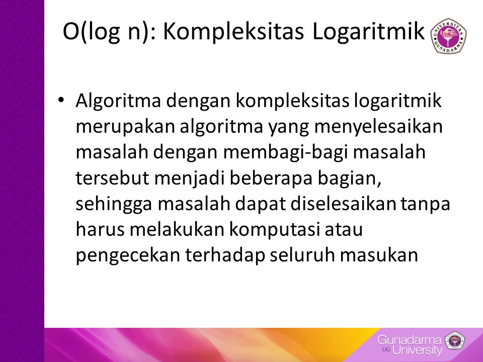 O(log n): Kompleksitas Logaritmik