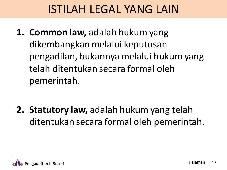 ISTILAH LEGAL YANG LAIN