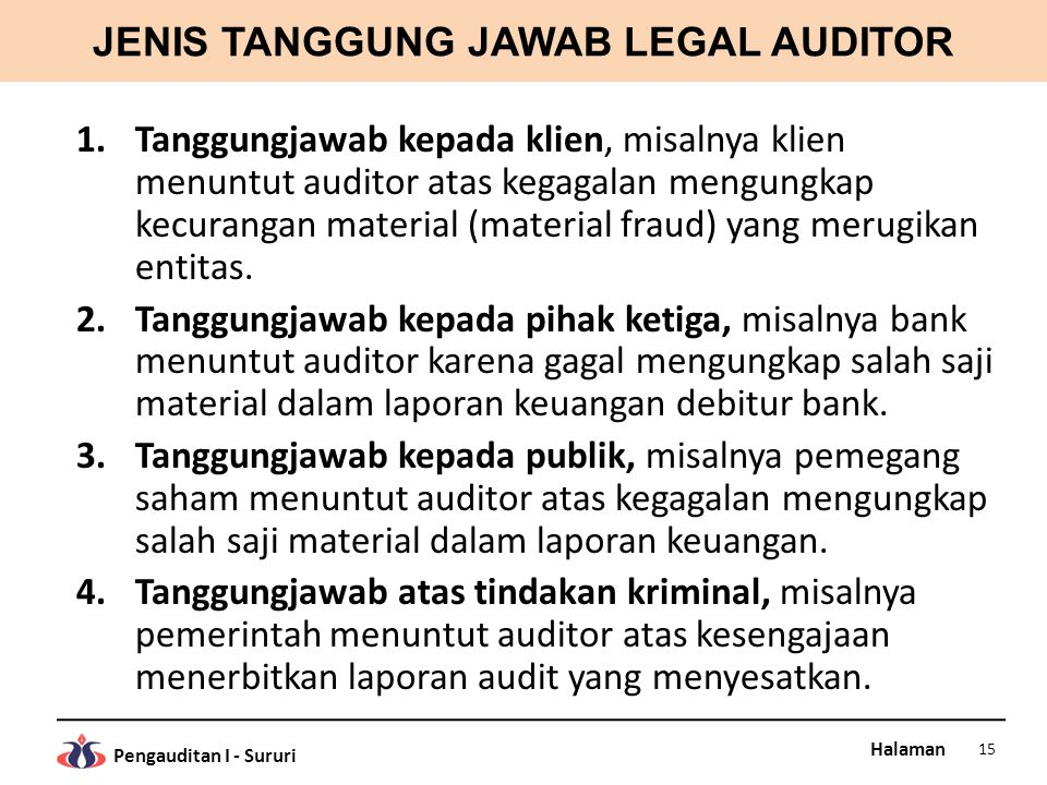 JENIS TANGGUNG JAWAB LEGAL AUDITOR