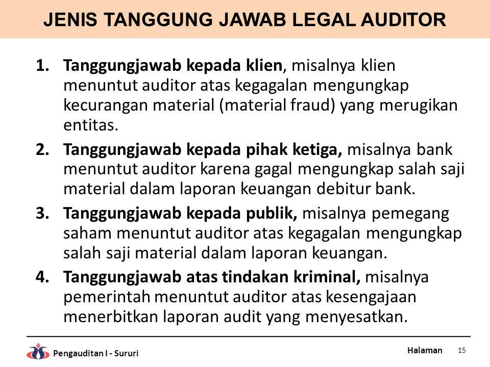 JENIS TANGGUNG JAWAB LEGAL AUDITOR