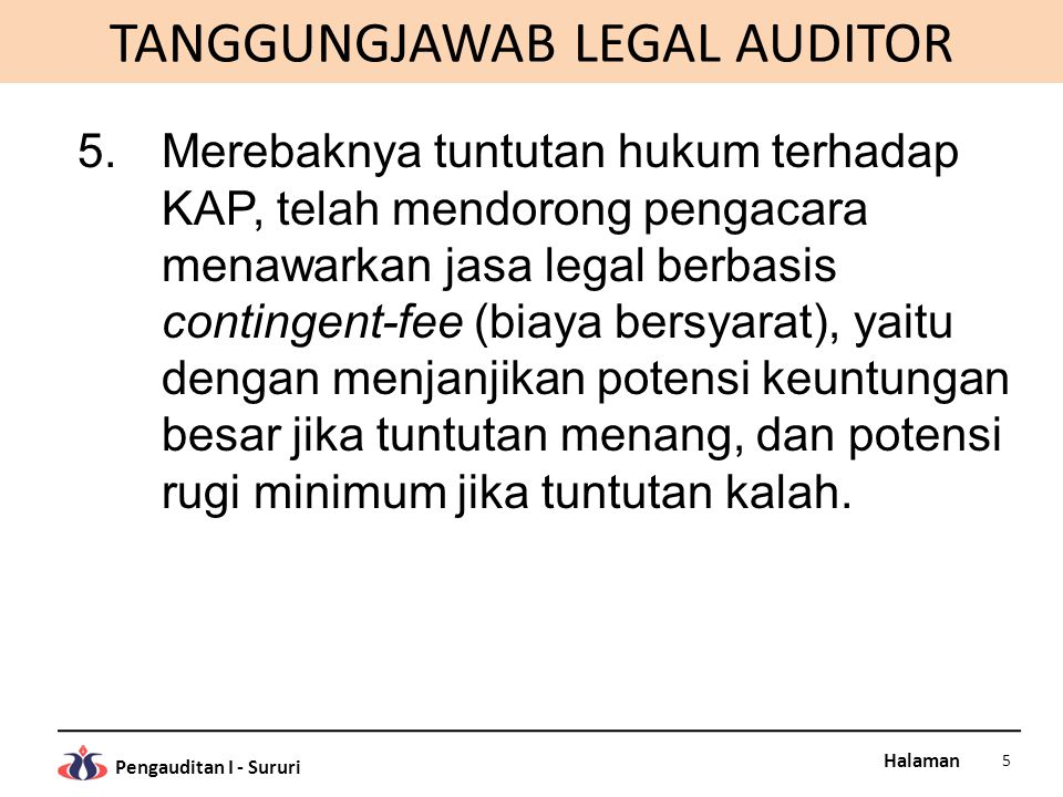 TANGGUNGJAWAB LEGAL AUDITOR