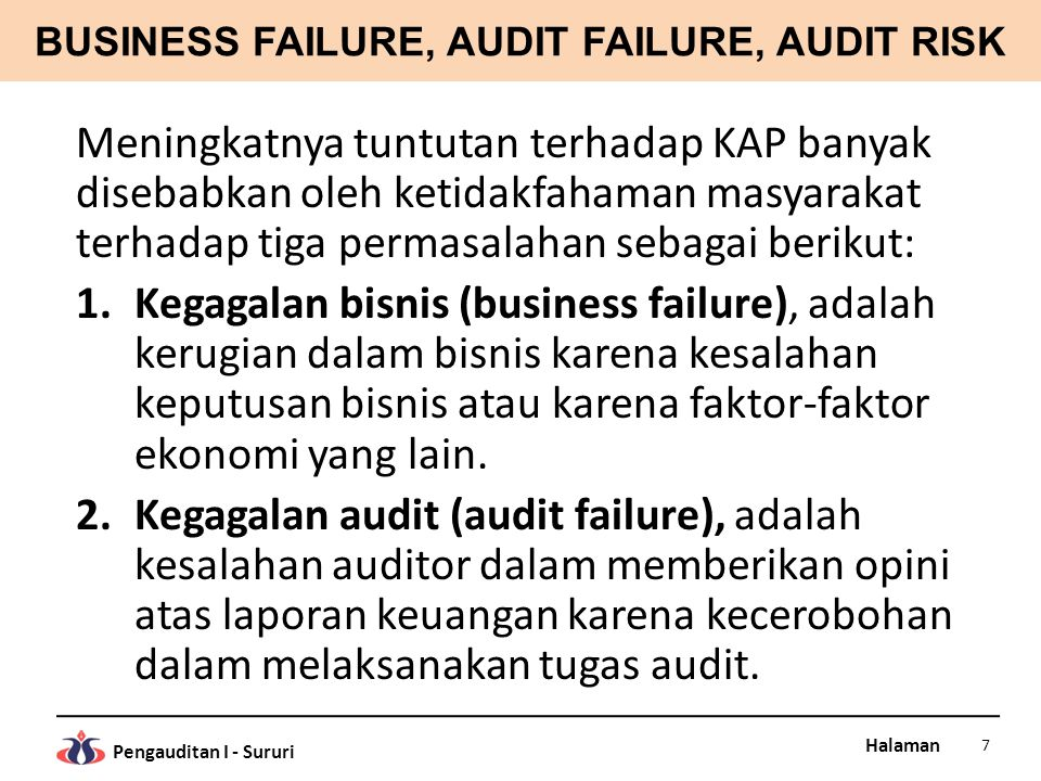 BUSINESS FAILURE, AUDIT FAILURE, AUDIT RISK