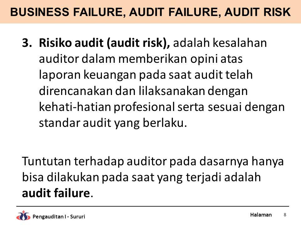 BUSINESS FAILURE, AUDIT FAILURE, AUDIT RISK