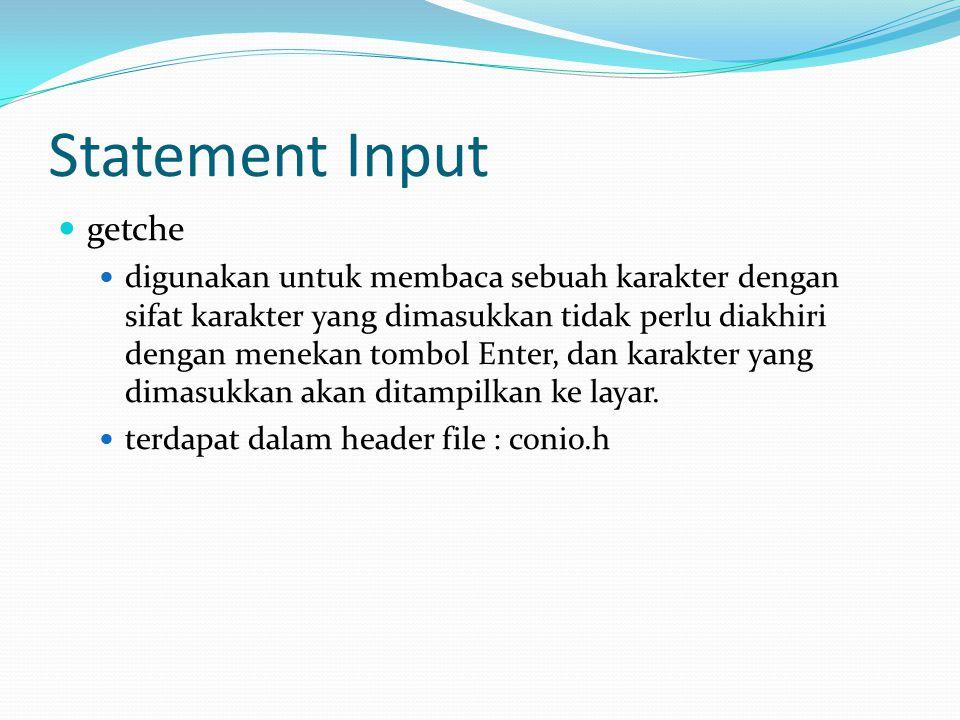 Statement Input getche