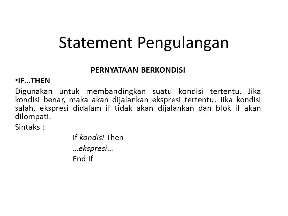 Statement Pengulangan