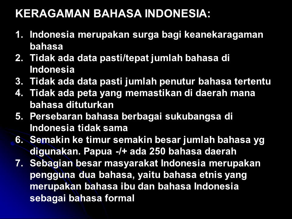 KERAGAMAN BAHASA INDONESIA: