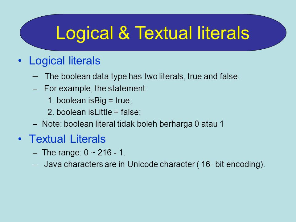 Logical & Textual literals